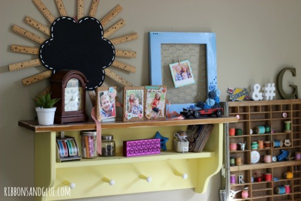 Ribbons and Glue Blog Craft Room Tour. How to create a vintage inspired craft room using vintage storage items and decor.