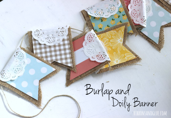 How to make a Burlap and Doily Banner. So easy!