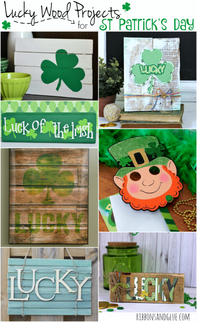 Lucky Wood Projects Ideas for St. Patrick's Day which includes DIY signs, home decor, printables and most importantly a wood door for lLeprechauns,