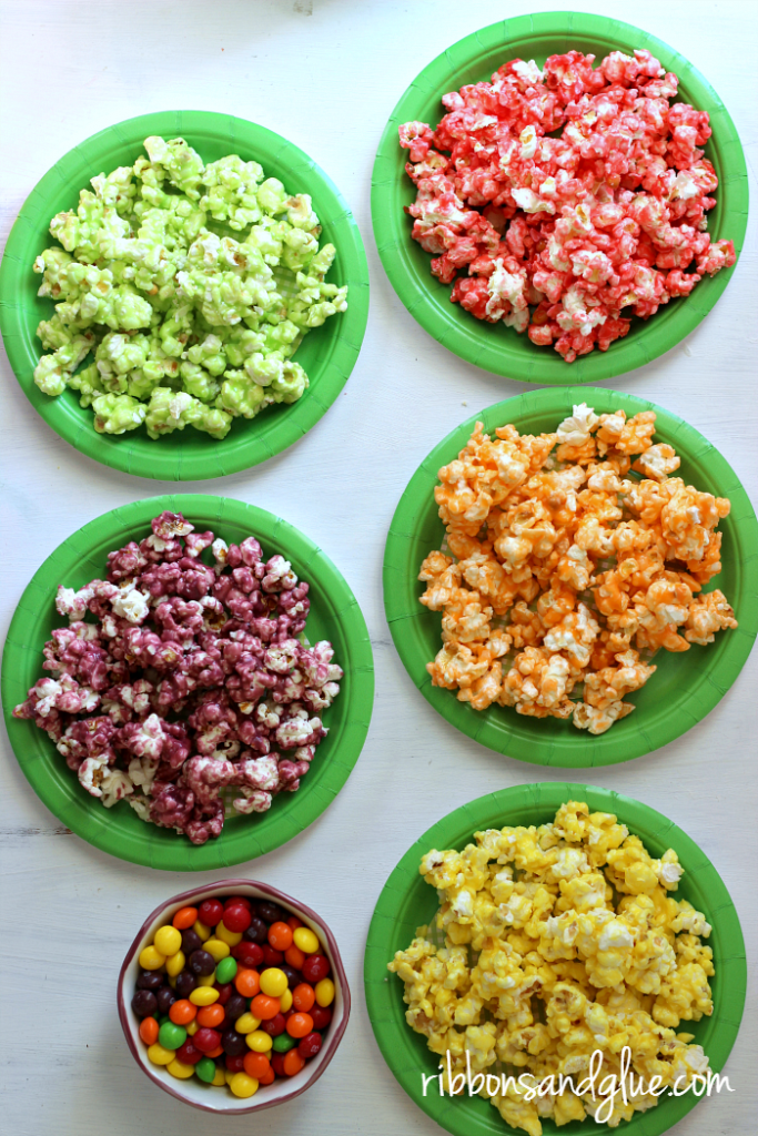 Pretty Rainbow Popcorn made with Skittles super easy to make for St. Patrick';s Day !