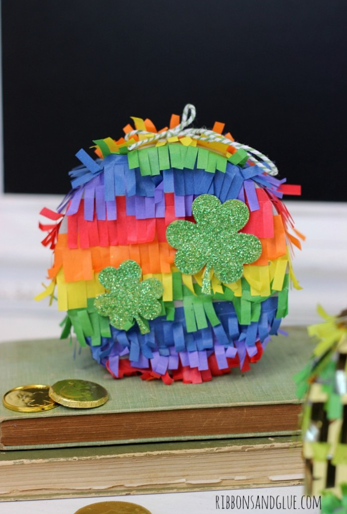 Mini Rainbow Pinata for St. Patrick's Day. The kids will sure love to find this full of gold and chocolate coins and green beads!