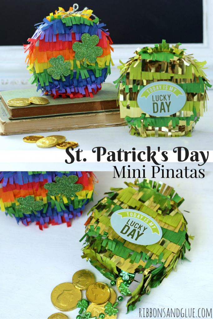 St Patrick's Day Mini Pinatas filled up with gold and chocolate coins and green beads! Super fun and an easy St. Patrick's Day craft!