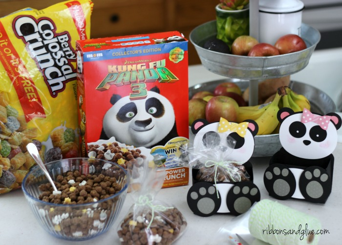 Treat bags filled up with Post Kung Fu Panda Cereal perfect idea for any Panda Themed Party