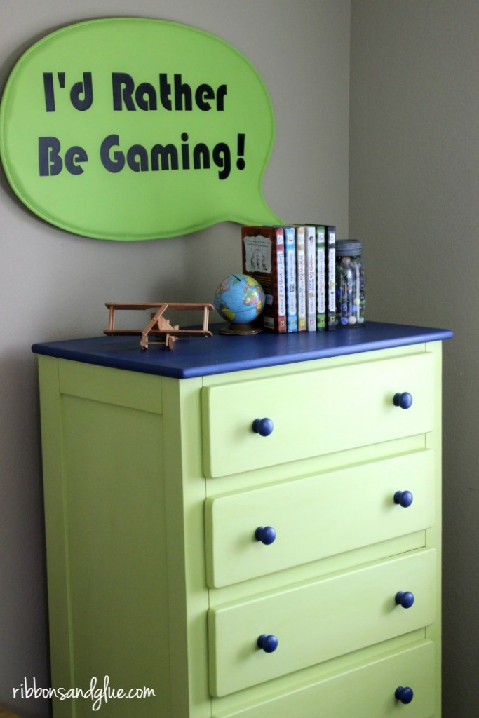 Tween Dresser Makeover using chalk paint.. Kid Boy Room updated to Tween Room by painting furniture and creating a DIY Gamer Sign