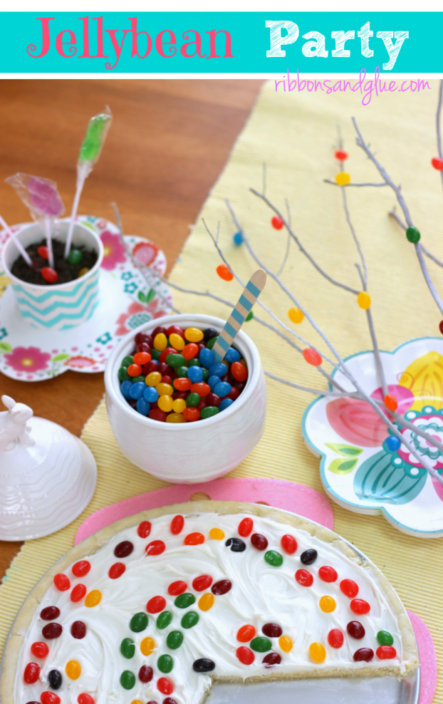 Throw a fun Jellybean Party this Easter by creating a Jellybean Tree, Jellybean Dessert Pizza and planting magical Jellybean seeds. #StarburstJellybeans #Kroger