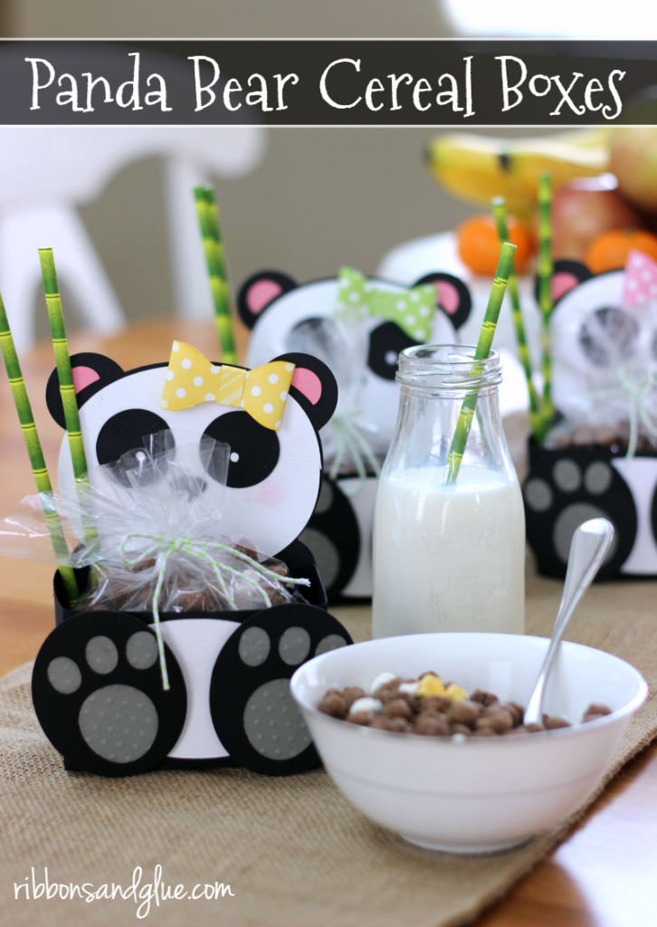 Panda Bear Treat Boxes made with Silhouette cut file and filled up with Post Kung Fu Panda Cereal #CerealAnytime