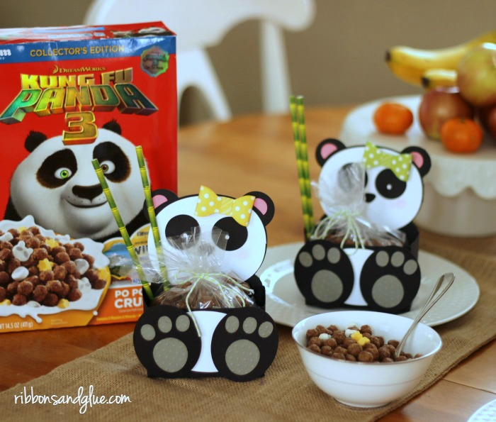 Panda Bear Boxes filled up with Kung Fu Panda cereal perfect idea for any Panda themed party.