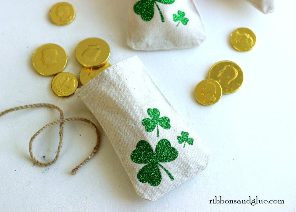Lucky Shamrock Treat Bags Filled up with Gold Coins