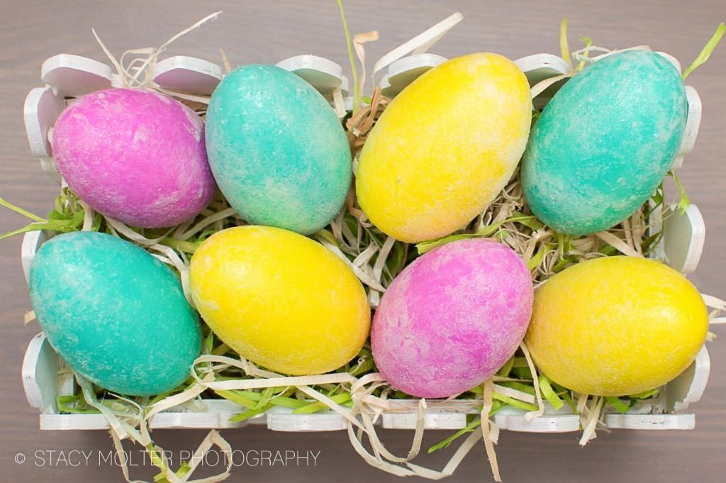 Frosted Glitter Easter Eggs made with wood eggs