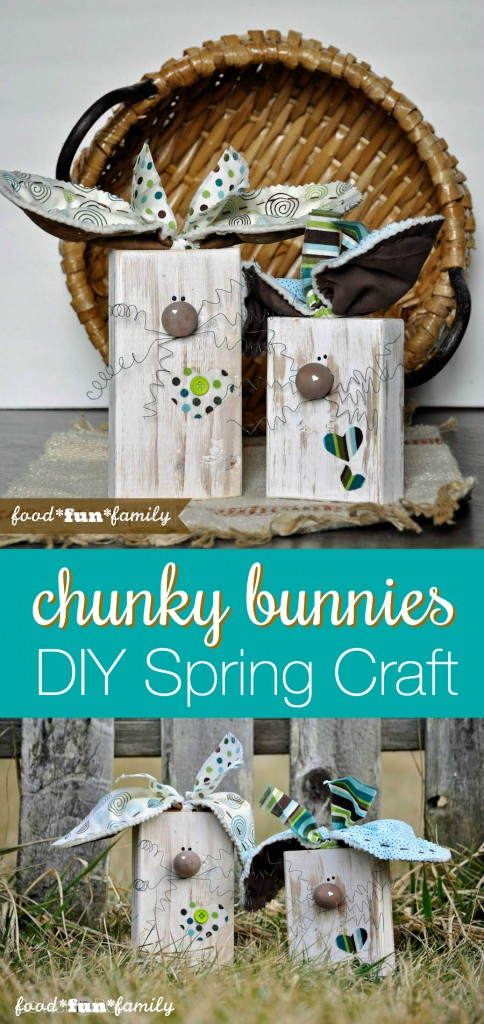 Chunky Bunnies made from wood blocks