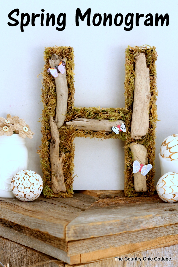 Spring Monogram made out of moss and driftwood