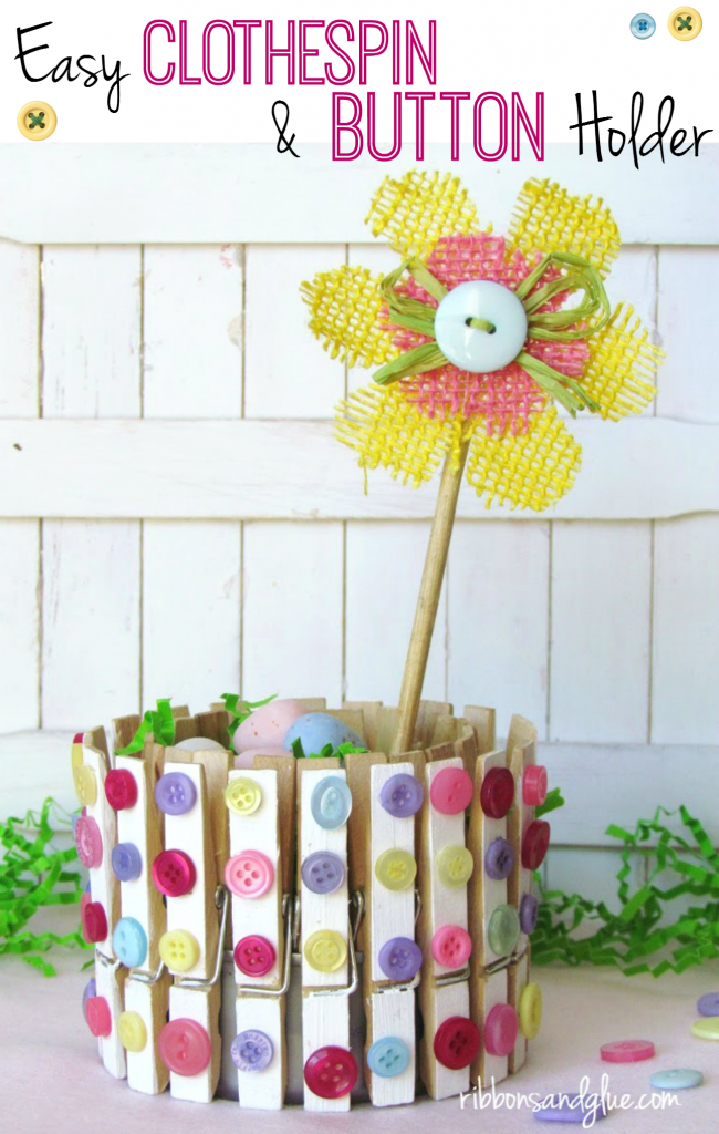 DIY Decorative Clothespin Crafts. Easy Clothespin and Button Decor for Spring. Clip decorative clothespin on to a tin can and fill up with candy treats .