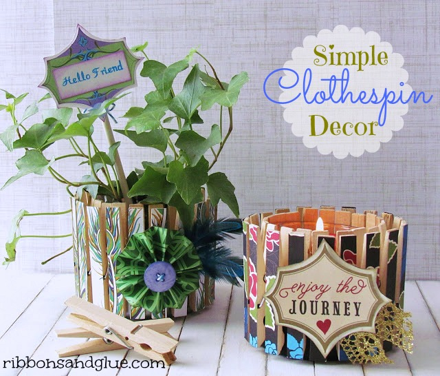 DIY Decorative Clothespin Crafts. How to make a plant holder and candle clothespin decor out of a tin can. Great up-cycling idea!