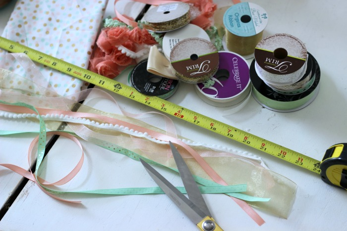 How to make a DIY Shabby Chic Ribbon Flag out of strips of pretty ribbon