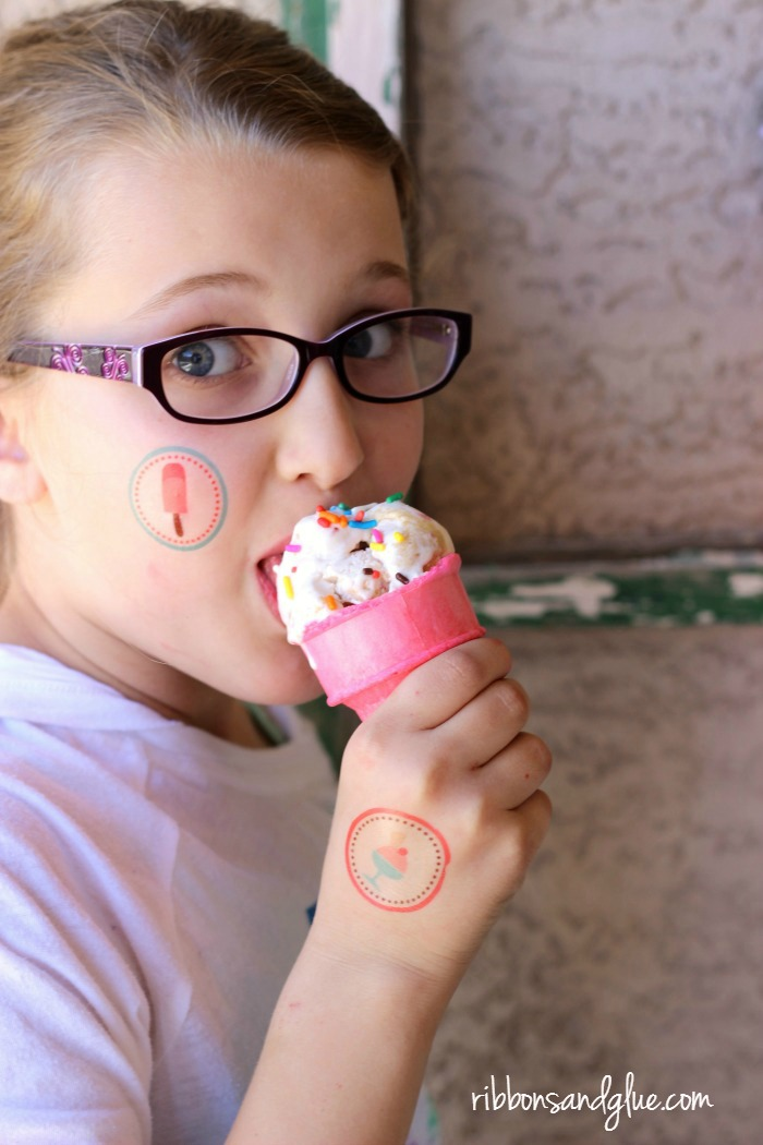 Ice Cream Fun with Temporary Tattoos created with Silhouette Cameo. Fun Ice Cream Party Idea.