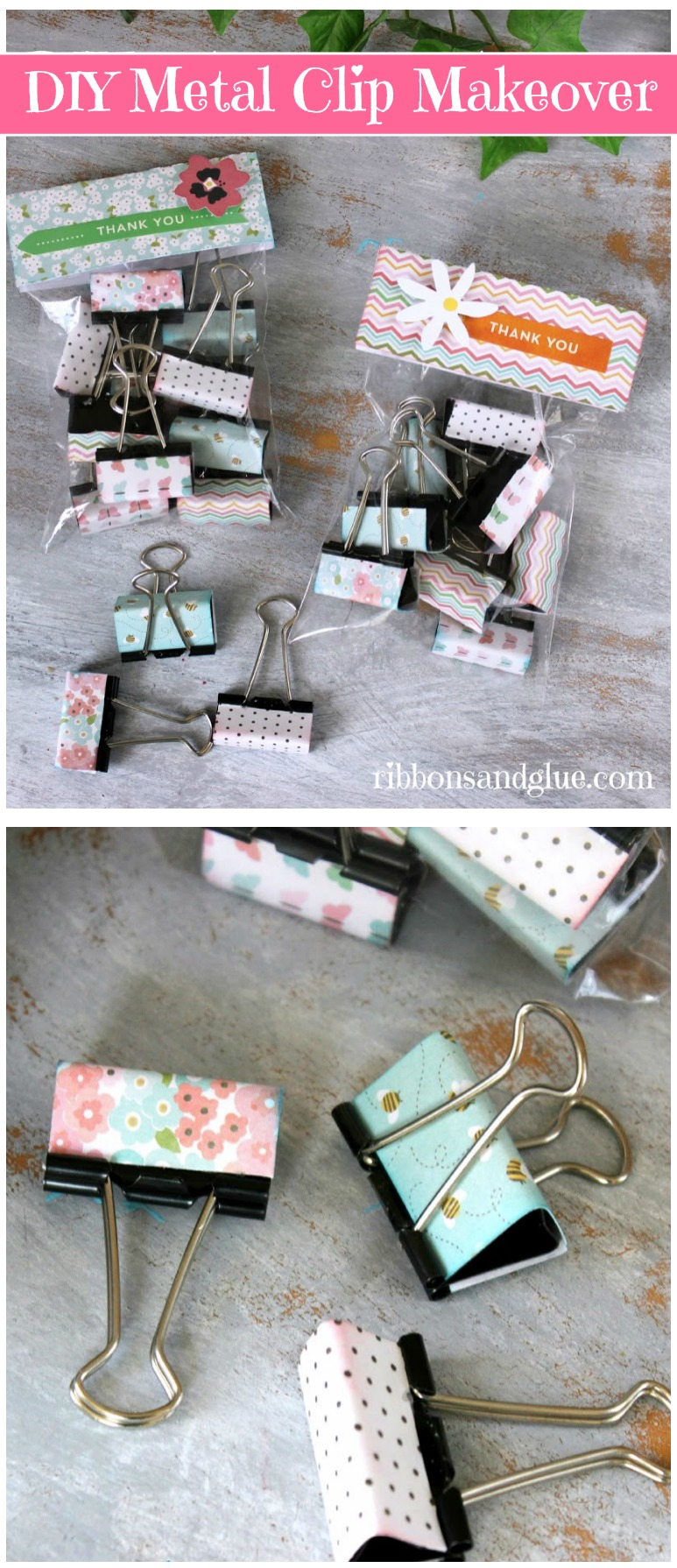 Give Metal Clips a DIY Makeover with scrapbooking paper. Such a simple, inexpensive and piratical Teacher Appreciation Gift idea!