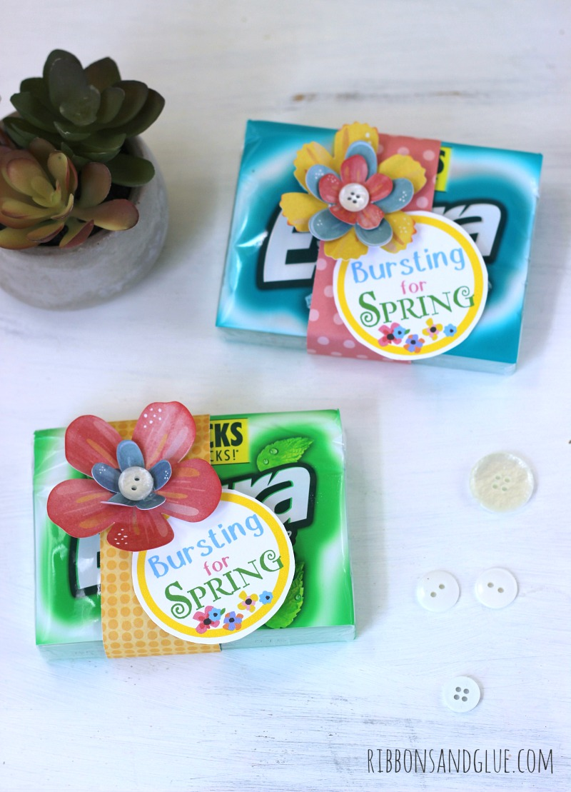 Bursting with Spring Gift Idea with Printable Tag, Just attach printable tag on to a pack of Extra® gum and embellish with flowers! Simple Springtime party favor. #GIVEEXTRAGETEXTRA, #Kroger #ad