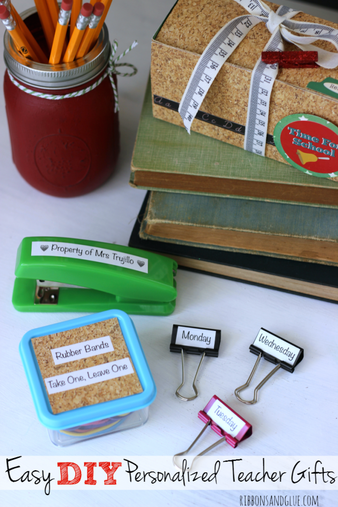 Easy Personalized Teacher Appreciation Gift idea. Purchase everyday desk supplies items from the Dollar Store then personalized them with a Label Maker.