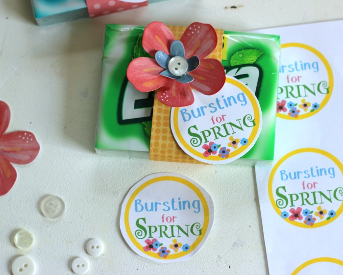 Printable Tag, Just attach printable tag on to a pack of Extra® gum and embellish with flowers! Simple Springtime party favor.