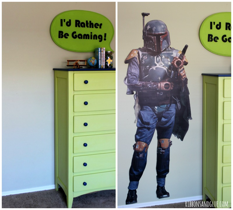 Easy way to update a Tween Boy Bedroom for any Star Wars Fan. Just apply a life size @Fatheaddecals on the wall. #PeelStickDone