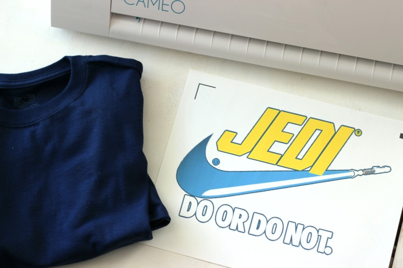 Jedi Image on printable heat transfer vinyl from Silhouette