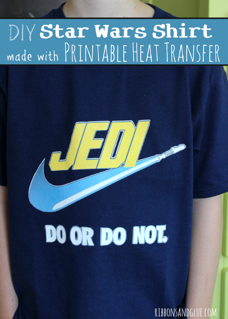 DIY Star Wars Jedi Shirt made with Printable Heat Transfer and Silhouette CAMEO. Just print and cut any image using Printable Heat Transfer and iron on to shirt. Easy DIY project!