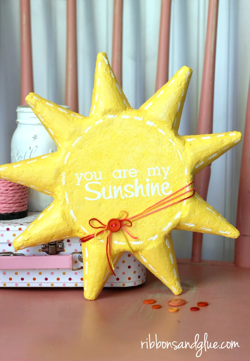 Unique DIY You are my Sunshine Sun Sign made from foam that is a perfect gift to make as a baby shower gift personalized with vinyl.