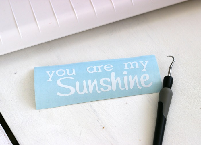 You are my sunshine lettering cut with Silhouette CAMEO and white vinyl
