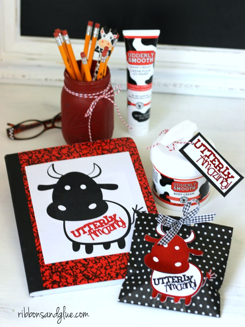 Utterly Amazing Teacher Gift Idea and Classroom Printables. Just print off, adhere on to a notebook, treat bags or attach on to Utterly Smooth Hand Cream. Unique idea for any cow lover!