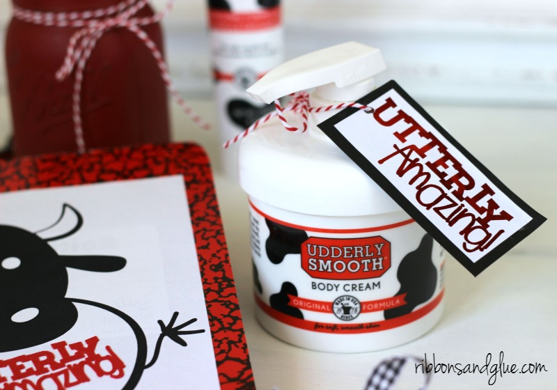 Utterly Amazing gift tag attached on to Udderly Smooth Hand Cream
