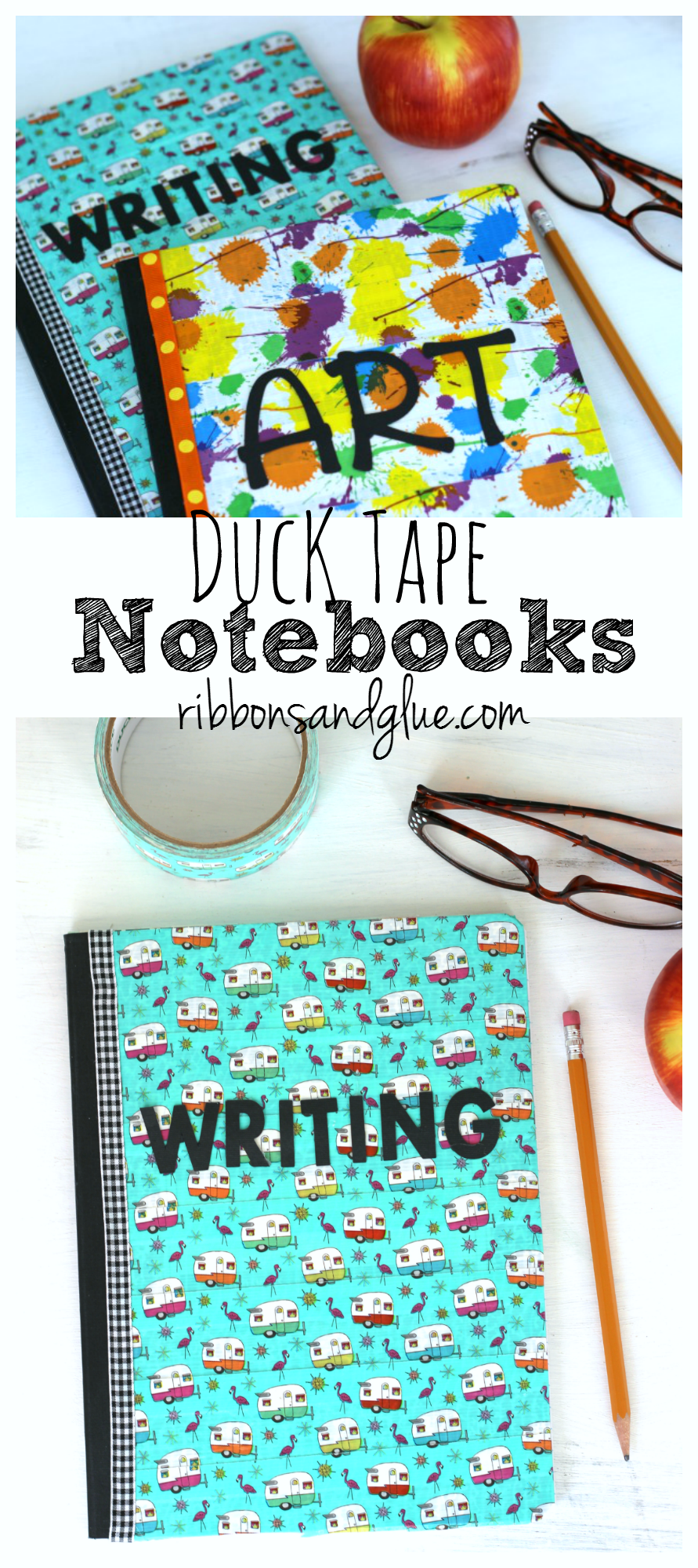 Duck Tape Covered Composition Books are a simple and inexpinsive craft to get the kids excited for Back to School. #DucktoSchool #ad