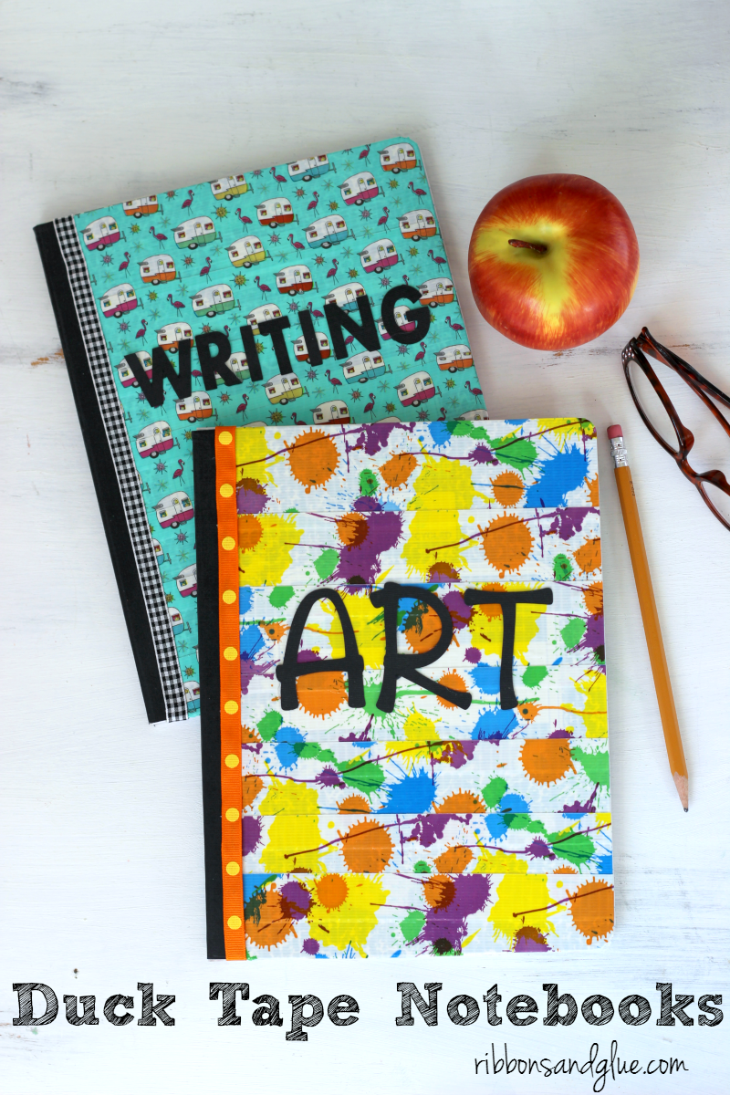 Duck Tape Covered Composition Books are a simple and inexpinsive way to get the kids ecited for Back to School. #DucktoSchool #ad