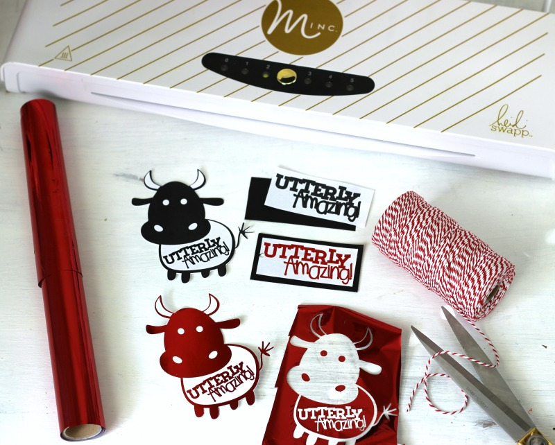 Utterly Amazing Cow Printable foiled in red foil using Minc Heat Foil Application