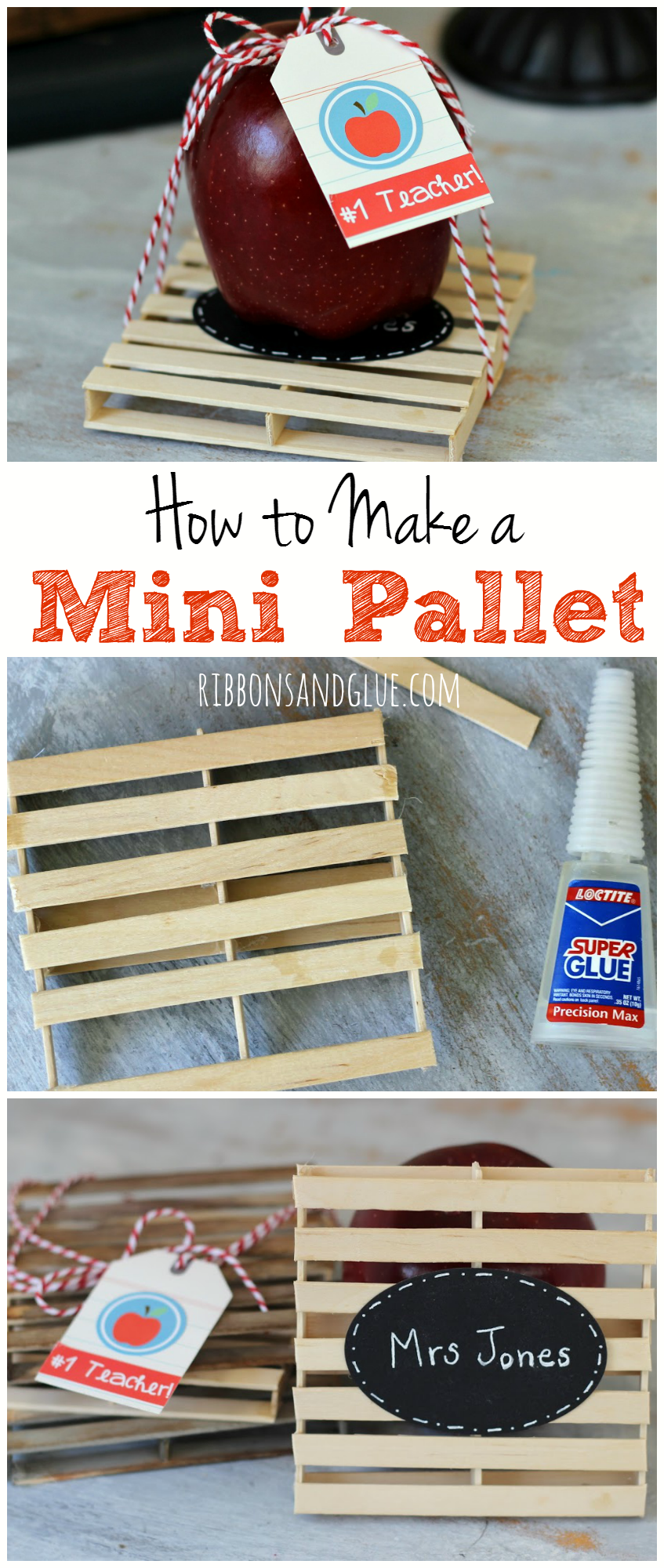 How to make a Mini Pallet using Popsicle sticks. Unique and creative Teacher Gift idea perfect to use as a drink coaster on a Teachers Desk.