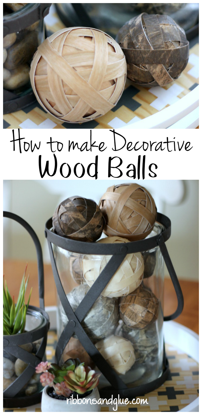 How to make decorative wood balls using wood veneer paper and foam balls. Easy, rustic, DIY table centerpiece piece idea.