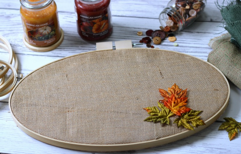 Fall embroidery hoop decor