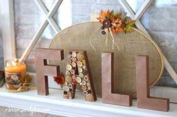 Fall Embroidery Hoop Mantel