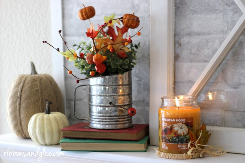 Fall Embroidery Hoop Mantel. Decorated with burlap embroidery hoops, Fall paper mache letters, pumpkins and Yankee Candle fragrances. .