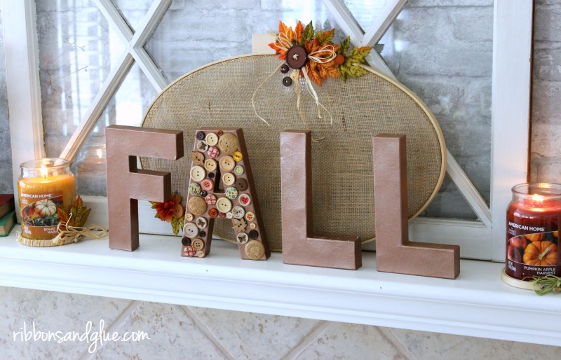 Fall Paper Mache Letter with buttons