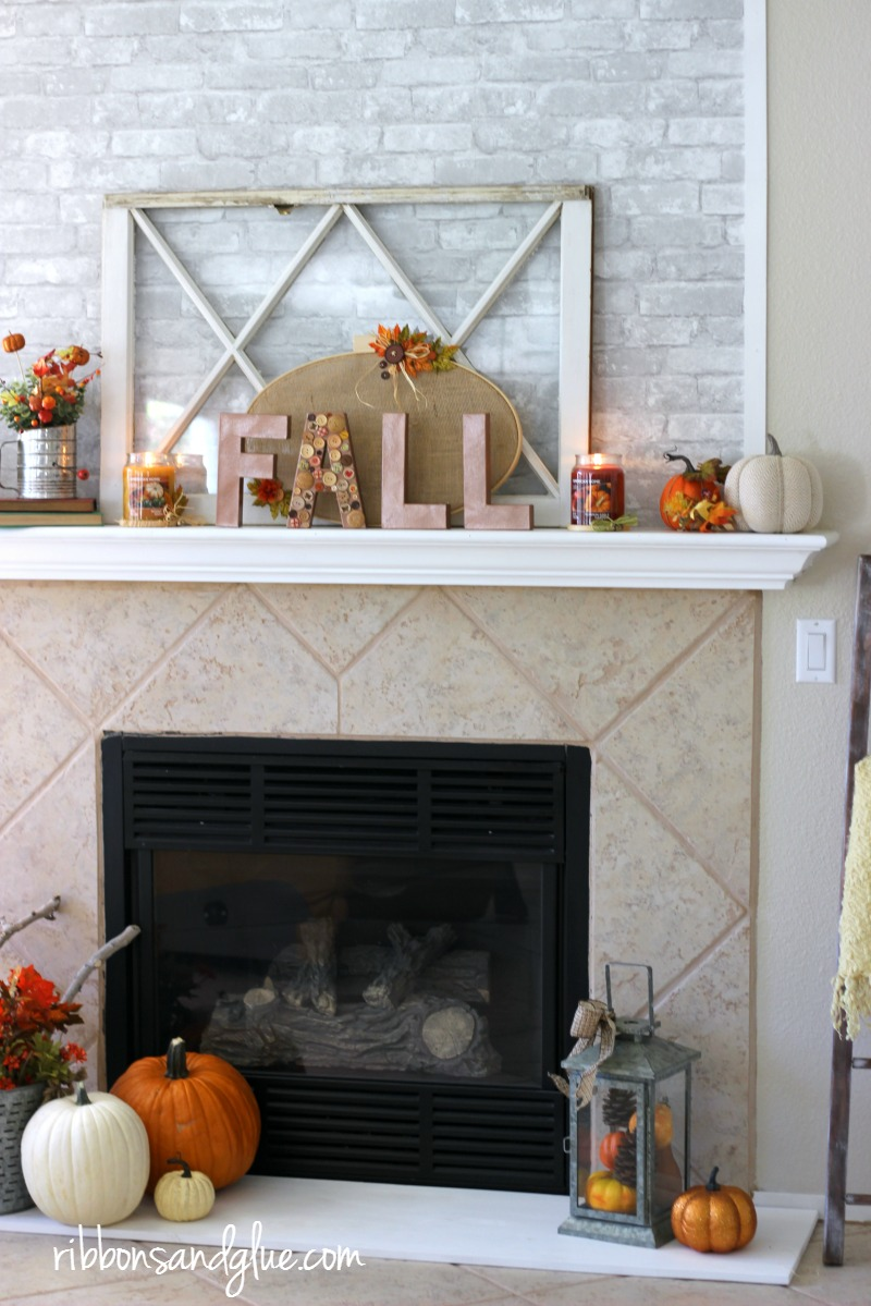 Fall Embroidery Hoop Mantel. Decorated with burlap embroidery hoops, Fall paper mache letters, pumpkins and Yankee Candle fragrances. . #LoveAmericanHome #cbias #walmart #ad
