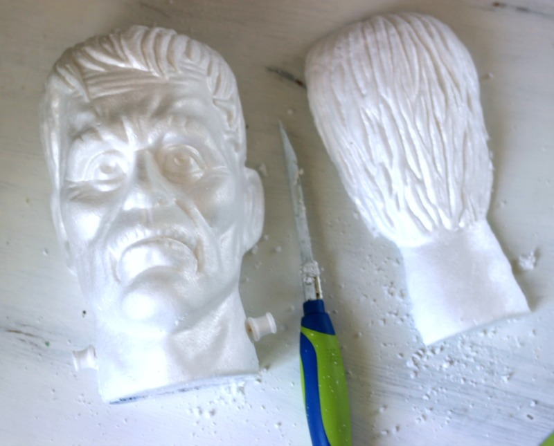 Foam Frankenstein head for Halloween