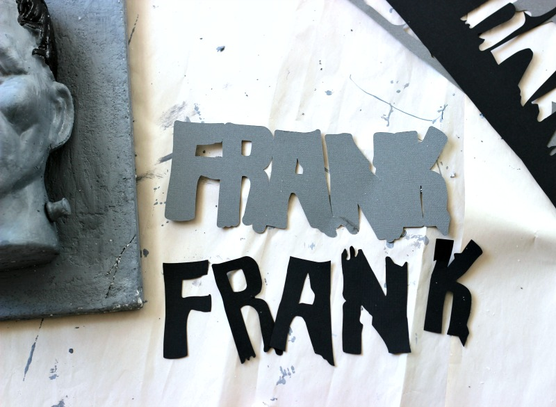 Frankenstein names cut out with die cutting machine