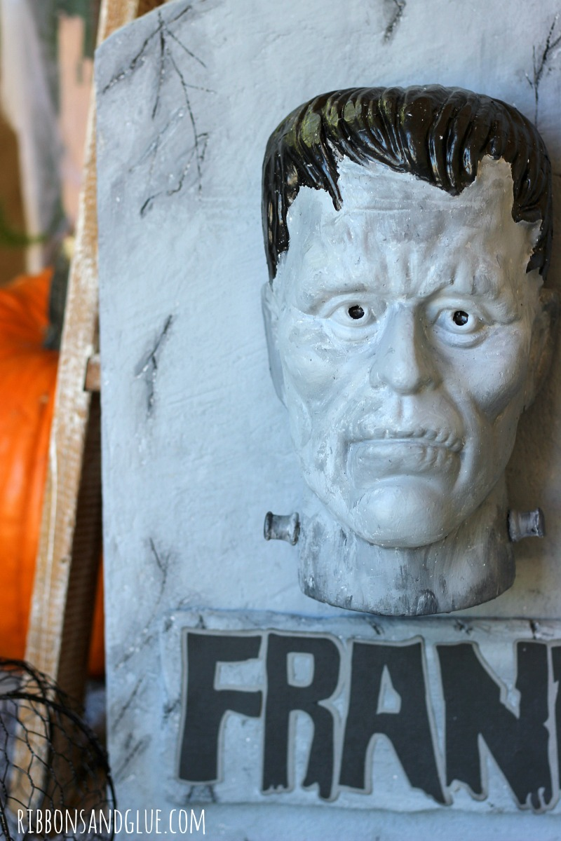 Make your Haunted House even spookier with this Halloween by creating a DIY Frankenstein Tombstone for made out of FloraCraft foam