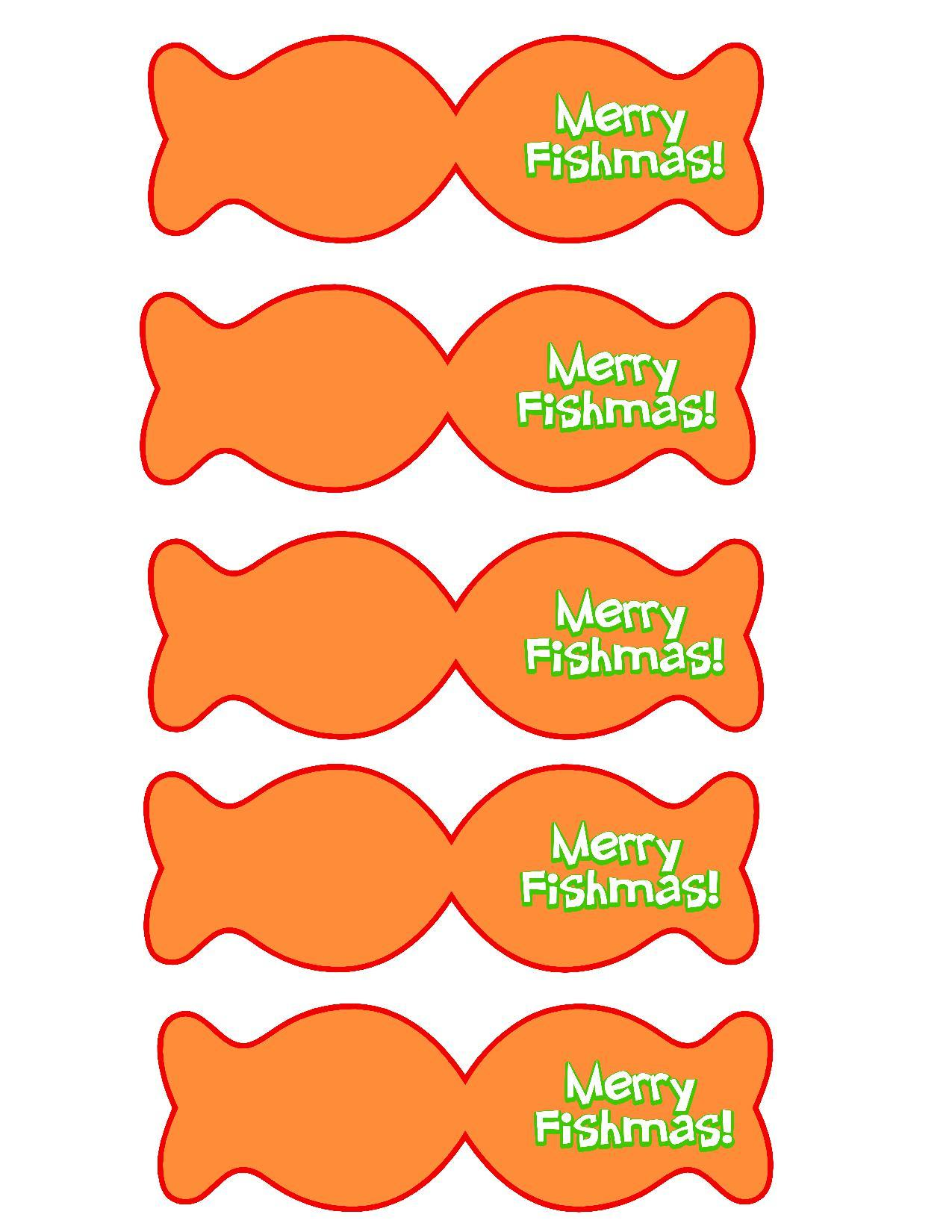 Merry Fishmas Printable Goldfish Tags