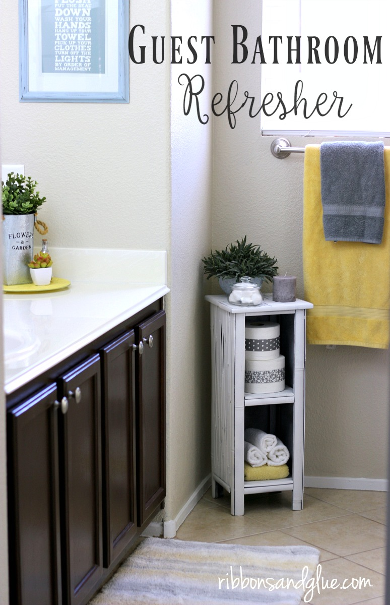 Simple Guest Bathroom Refresher Easily Done With A Repainted Side Table,  Fresh Linens, Soap