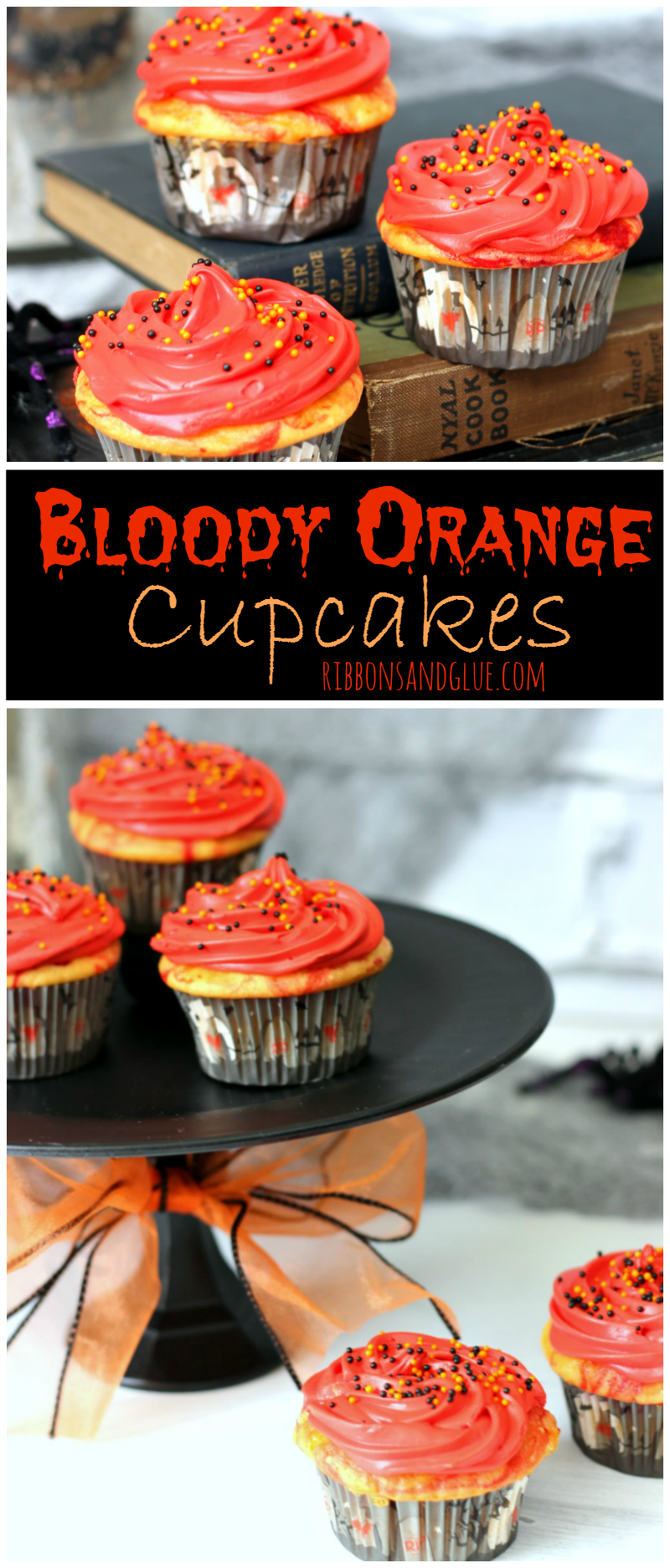 Simple Bloody Orange Halloween Cupcakes made with a yellow cake mix and orange. Sunkist® soda.