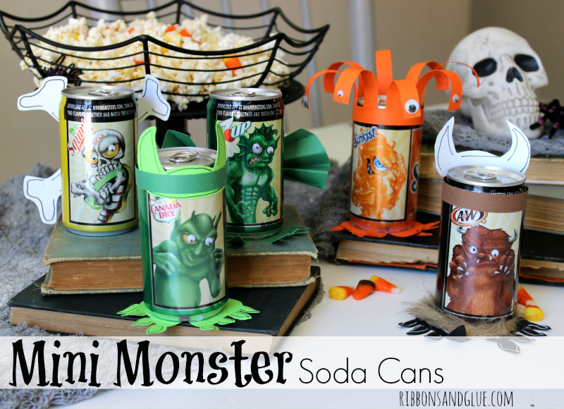 Halloween Mini Monster Soda Cans. Make the monsters come alive on Halloween Soda cans with googly eyes, fur, paper and fur. Fun Halloween Party activity.