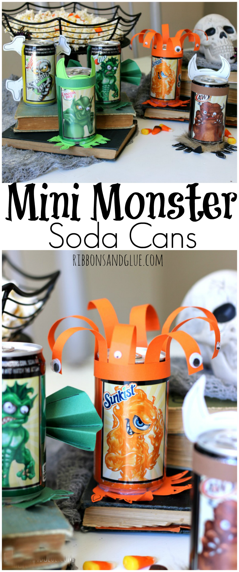 Halloween Mini Monster Soda Cans. Make the monsters come alive on Halloween Soda cans with googly eyes, fur, paper and fur. Fun Halloween Party activity. #WalmartMonsters #MiniMonsters #ad