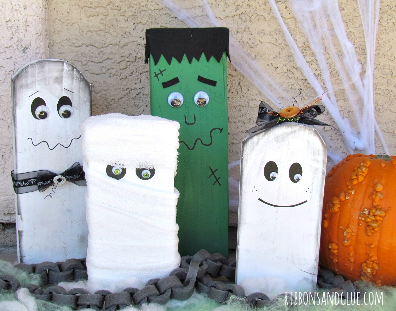 Wood Block Halloween Family created out of scrap wood, painted and decorated as Halloween Monsters. Easy and fun Halloween DIY project for the whole family to make.