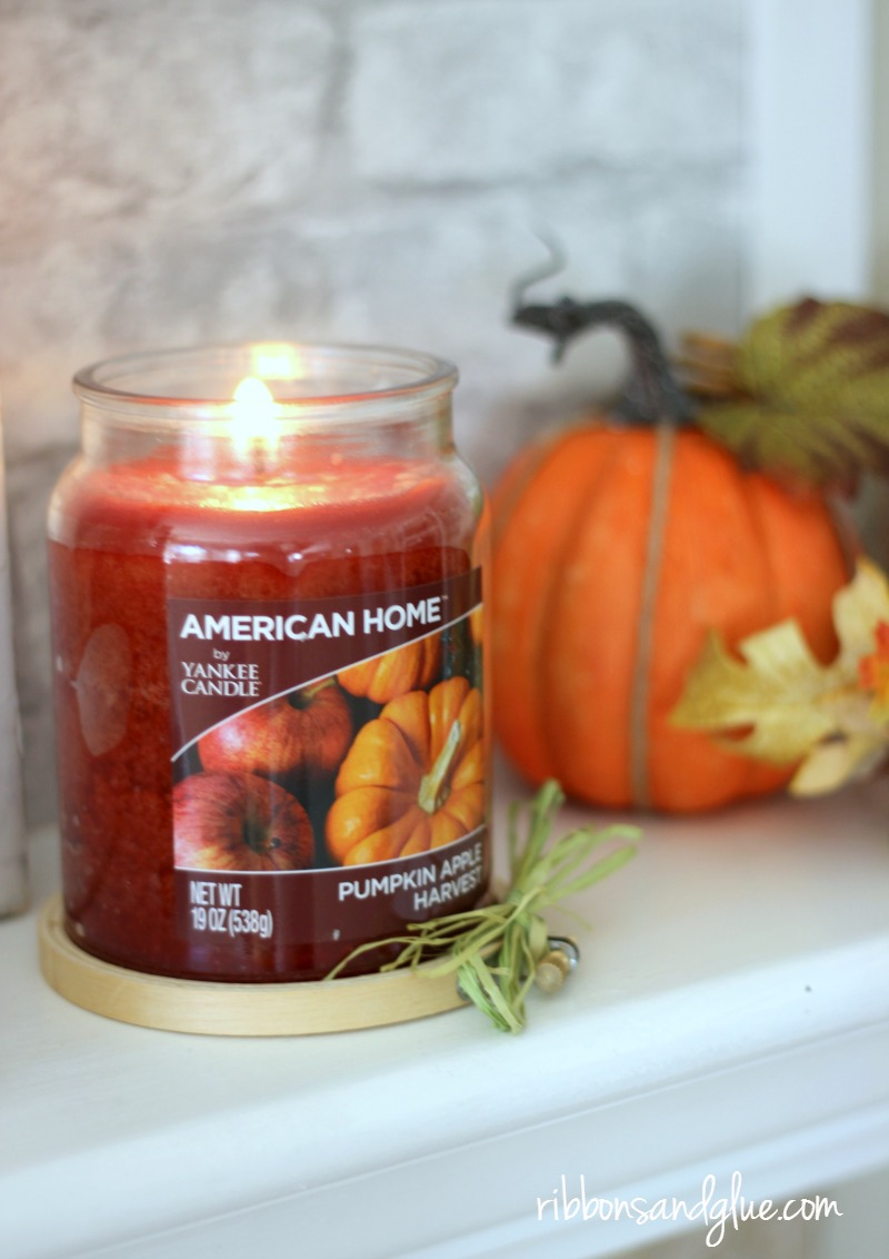 Fall Mantel with Yankee Candle fragrances